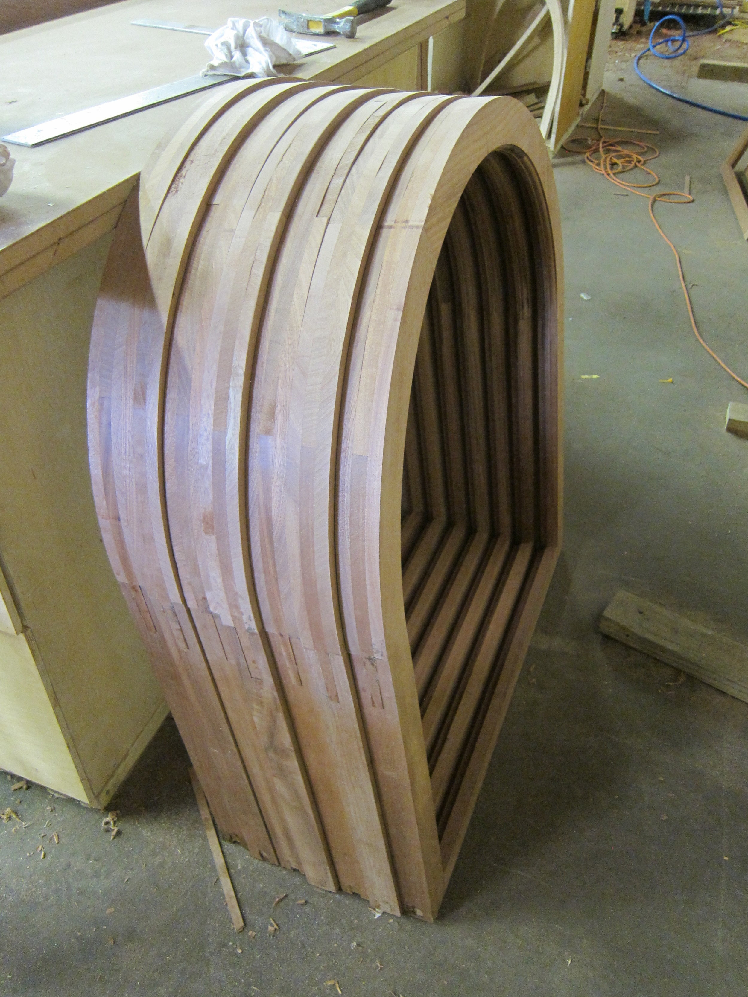 Stack lamination provides for efficiently made, strong sash.