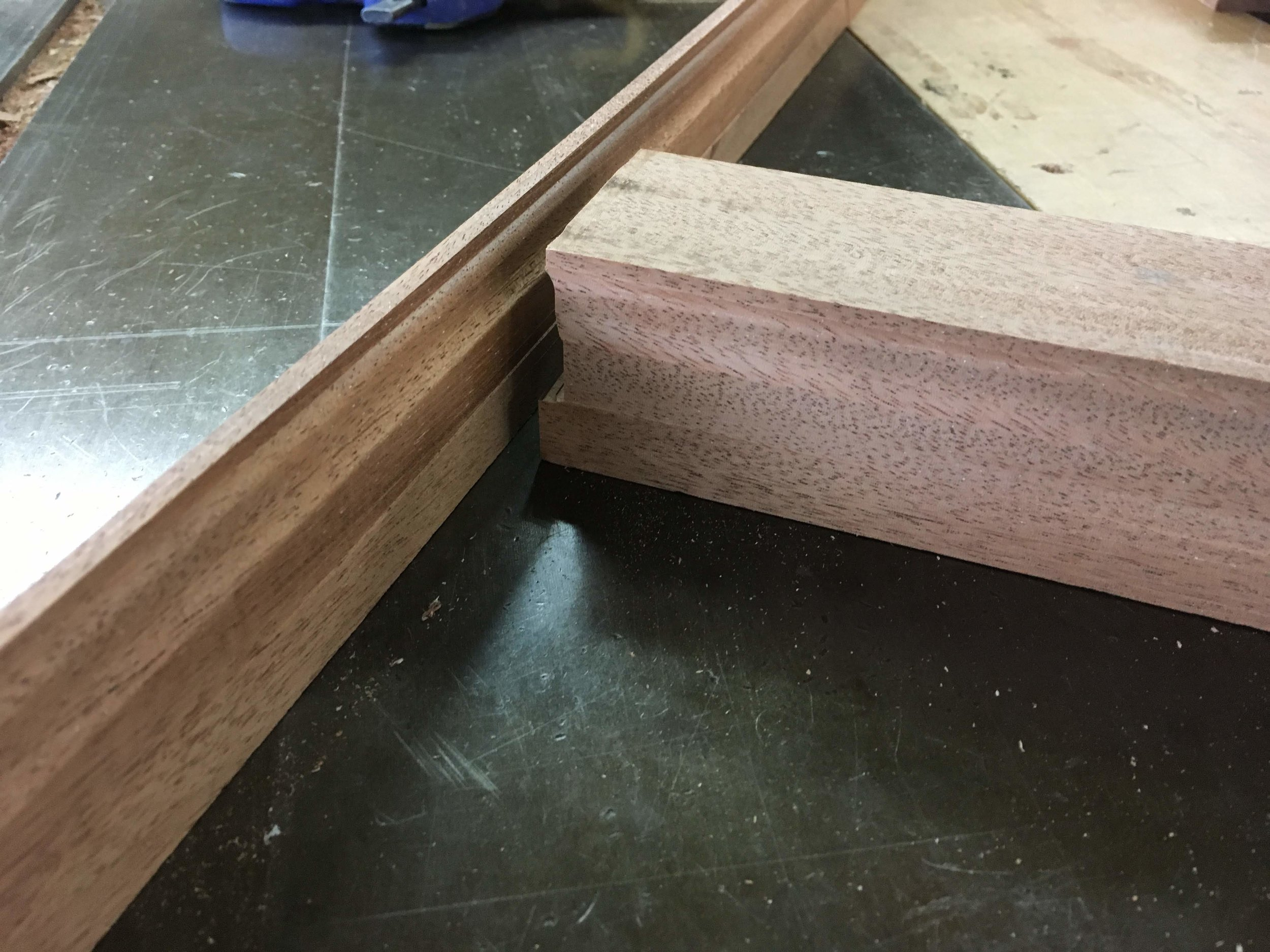 Here we have the positive and negative profiles cut by two different knives. This cope fit is the essence of traditional millwork.