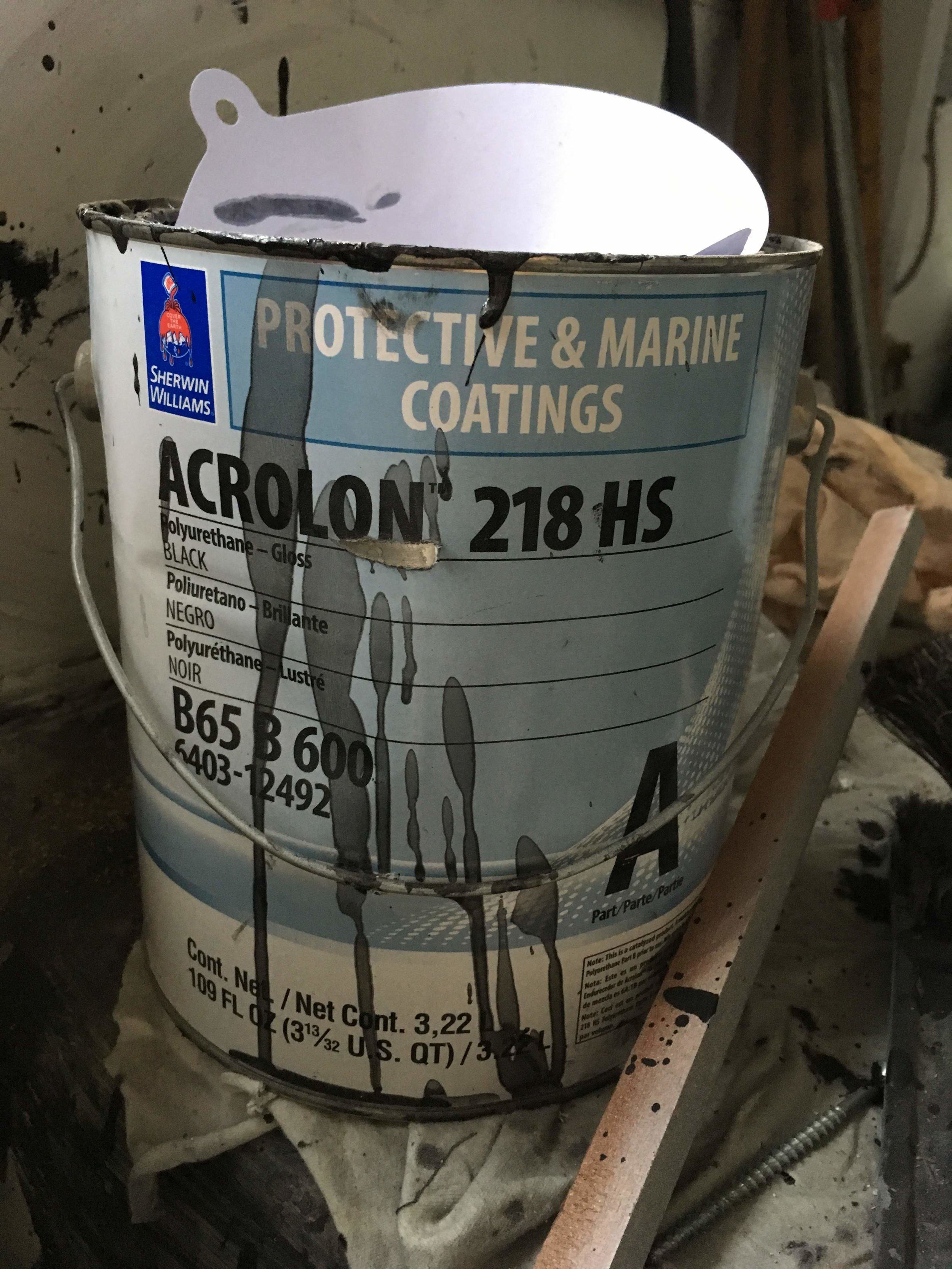 Catalyzed paint from Sherwin Williams for metal.  Excellent gloss and bond.  We became a fan when using as specified for Canal Gate parts for the lock gates in Georgetown.
