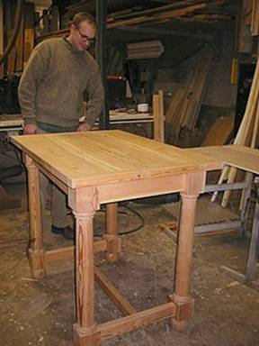A taller and smaller version of a classic tavern table design—all shop made including turnings for the legs.  This piece still awaits its tung oil finish.
