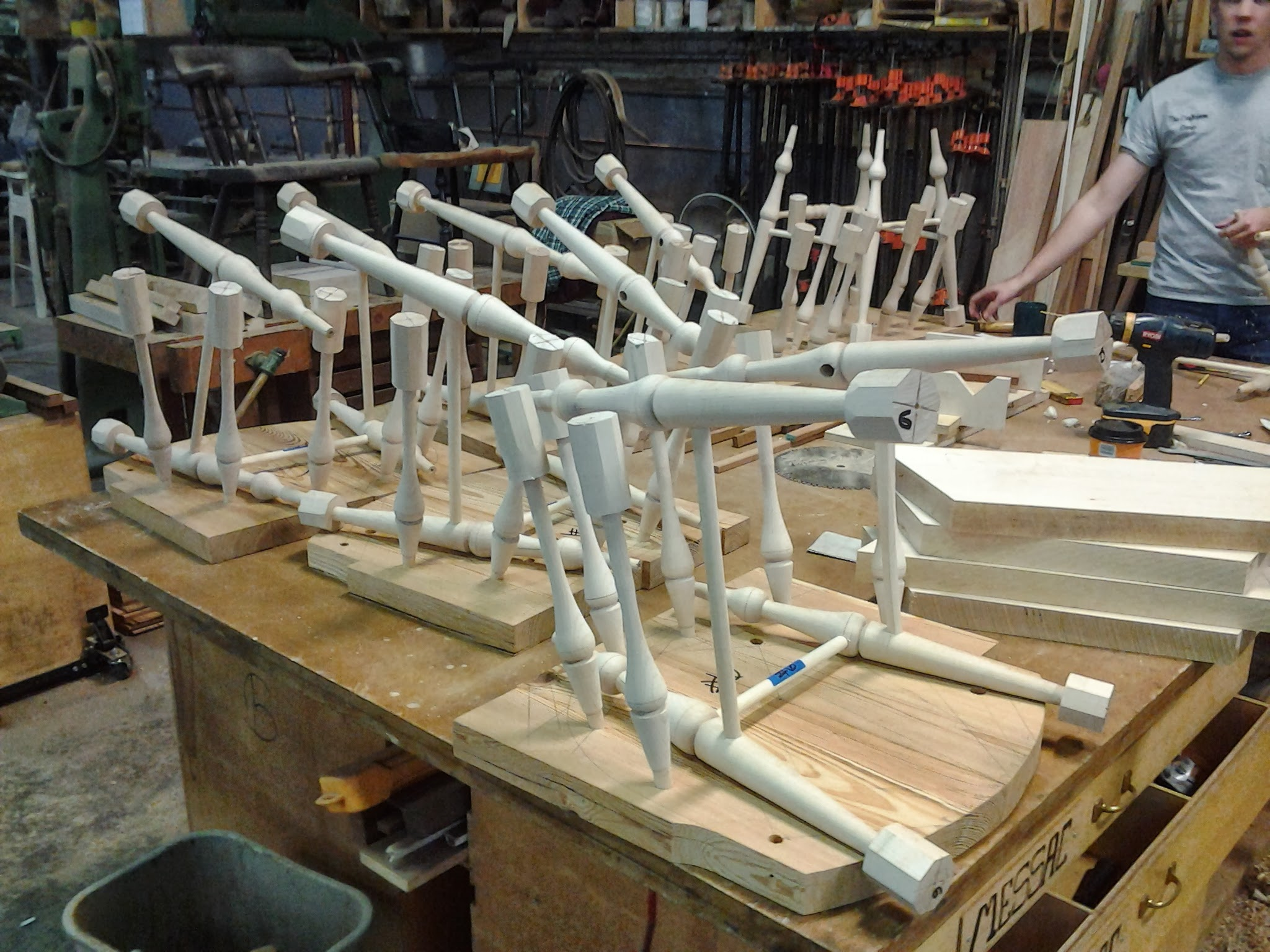 Soft maple chair rungs and legs in process.