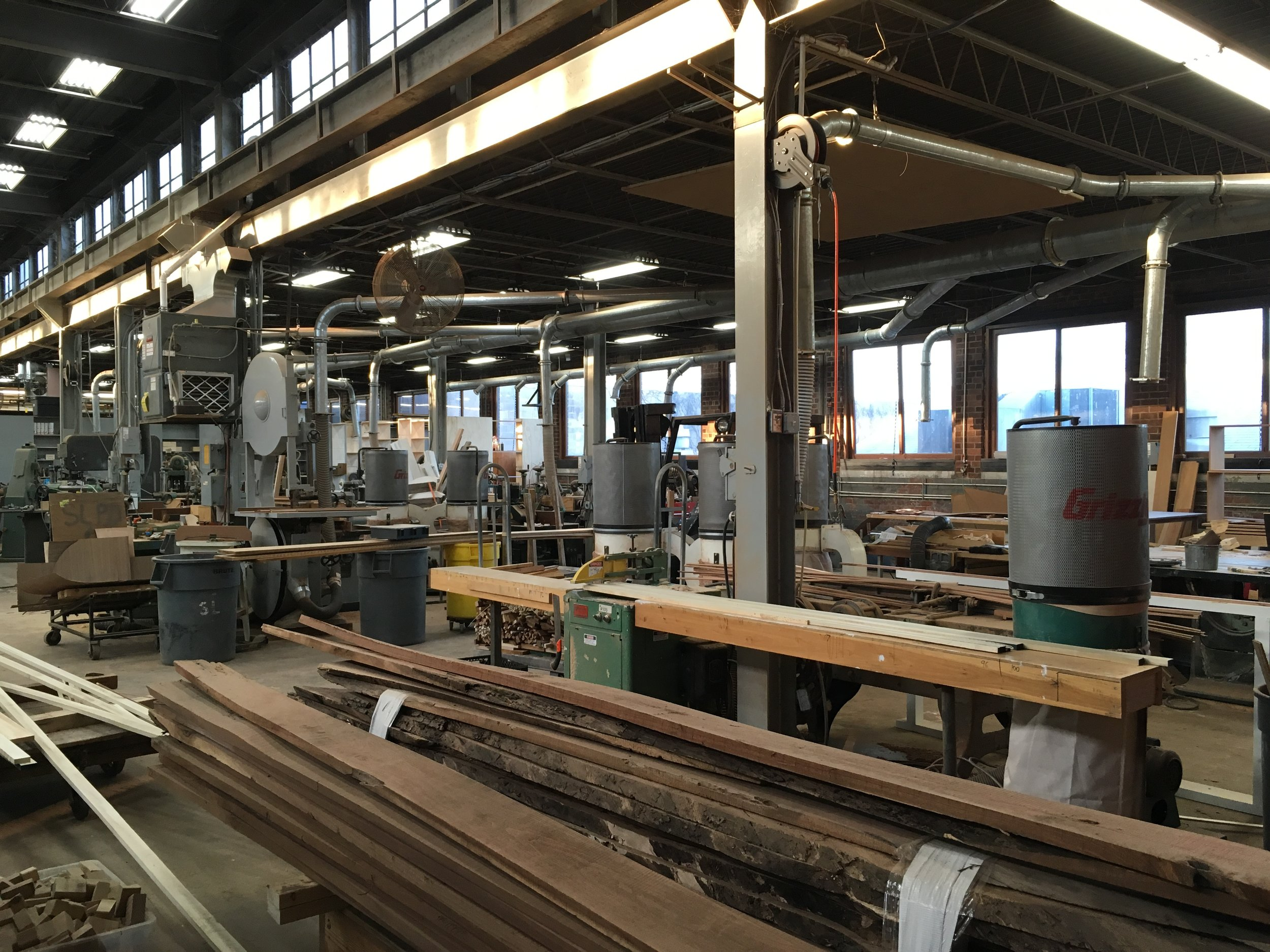 The wood shop is a versatile space and constantly evolving.  We have done thousands sash runs of reproduction sash and careful restoration of one-of-a-kind handmade sash with a variety of equipment we have here.