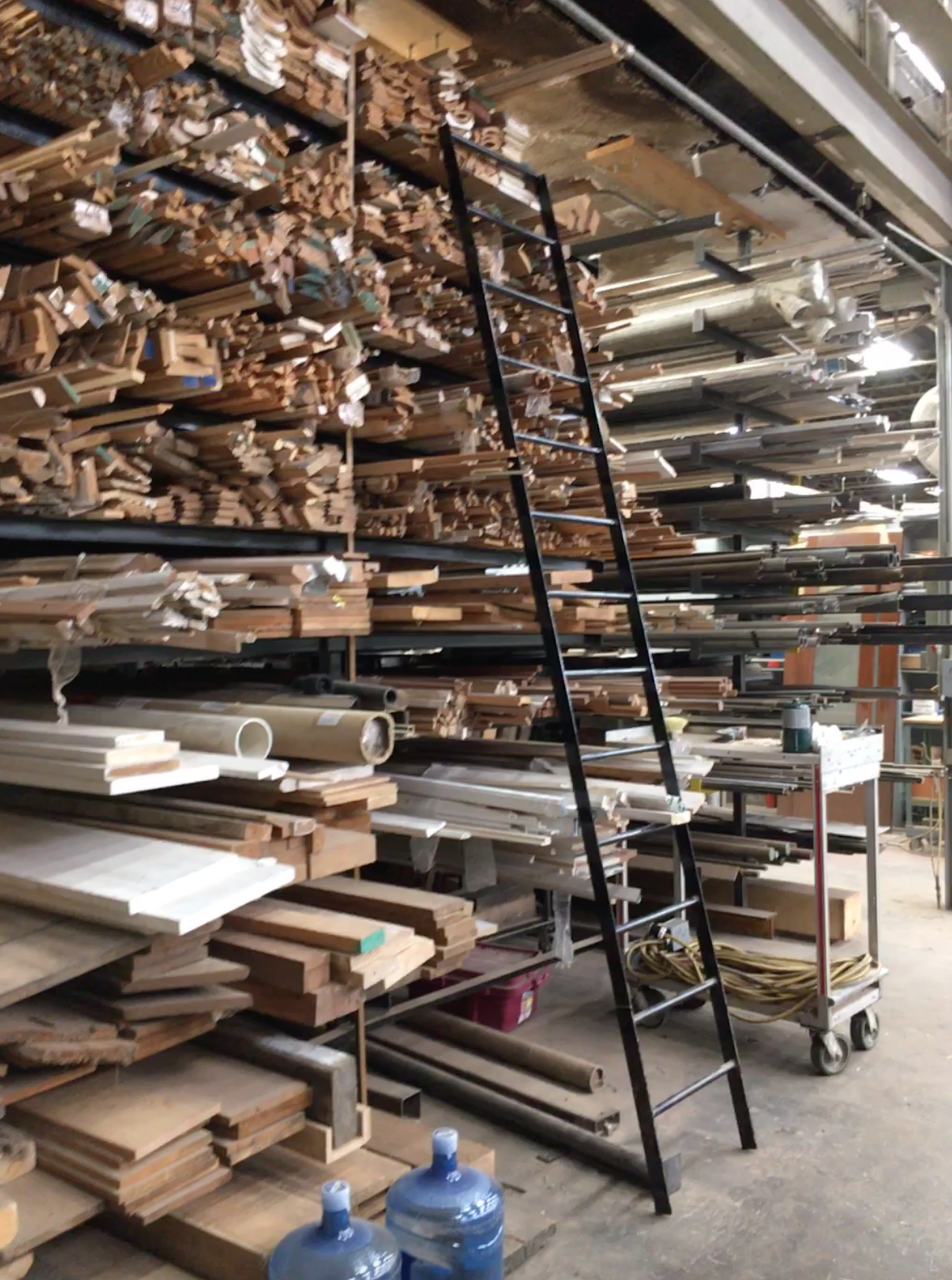 We carefully store moldings, new and old, this rack can be a real problem solver.  Sometimes the profiles there sometimes a slight modification is just what is needed to complete a project on time.