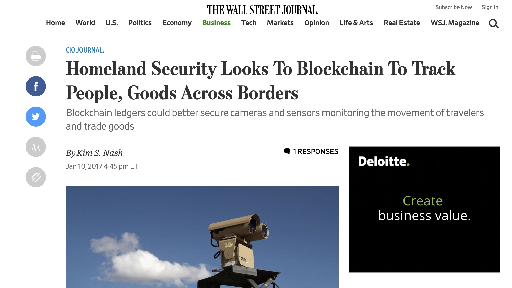 The Wall Street Journal - Homeland Security Looks To Blockchain To Track People, Goods Across Borders