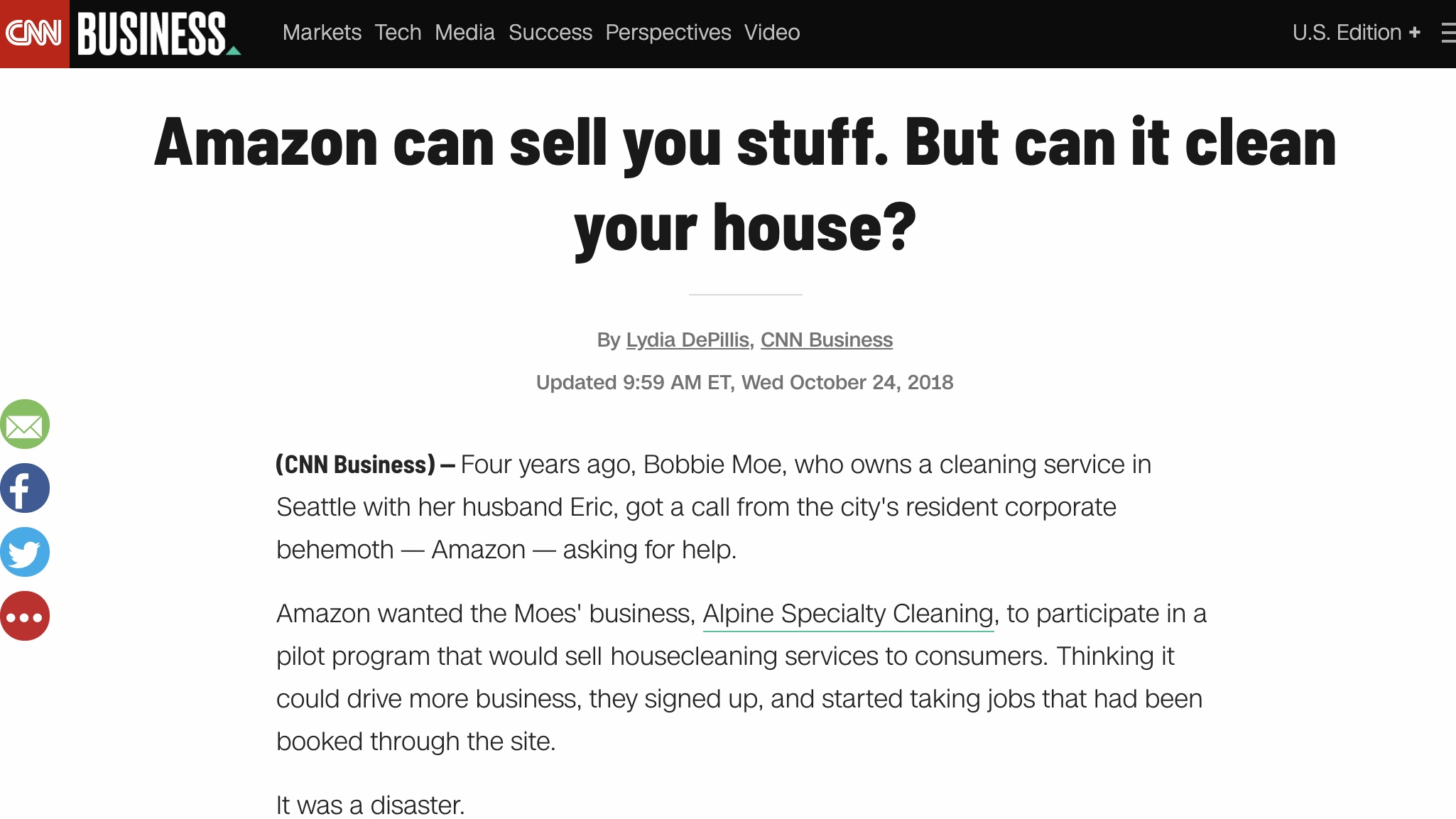 CNN BUSINESS - Amazon can sell you stuff. But can it clean your house?