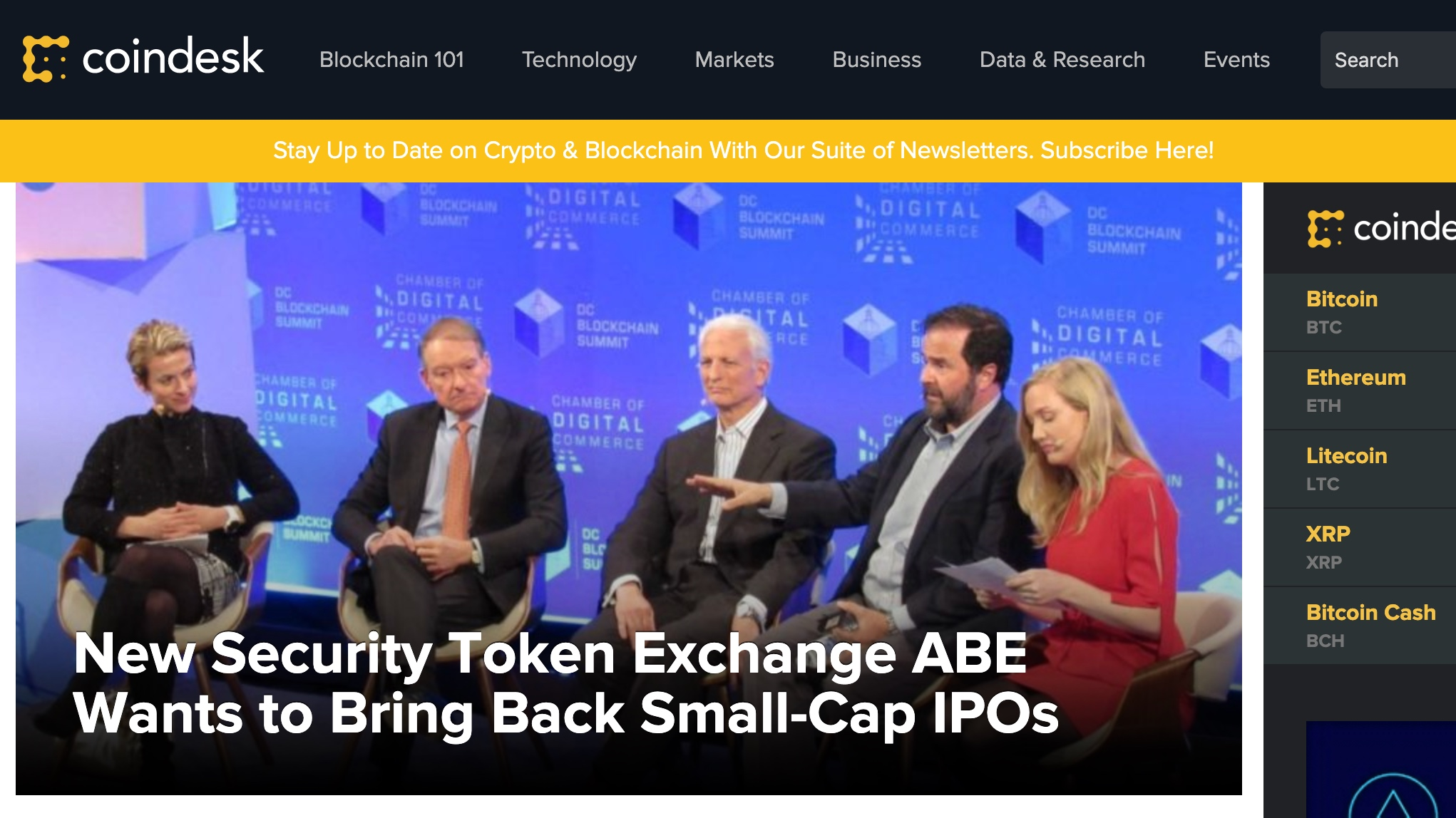 COINDESK - New Security Token Exchange ABE Wants to Bring Back Small-Cap IPOs