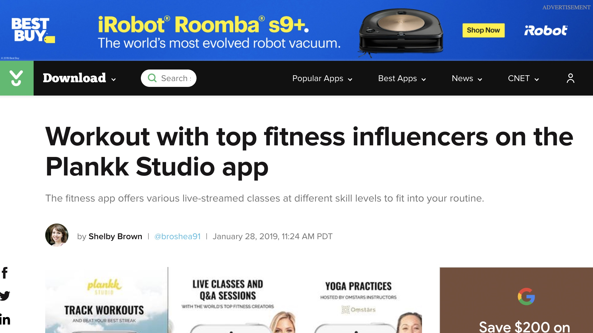 Cnet - Workout with top fitness influencers on the Plankk Studio app