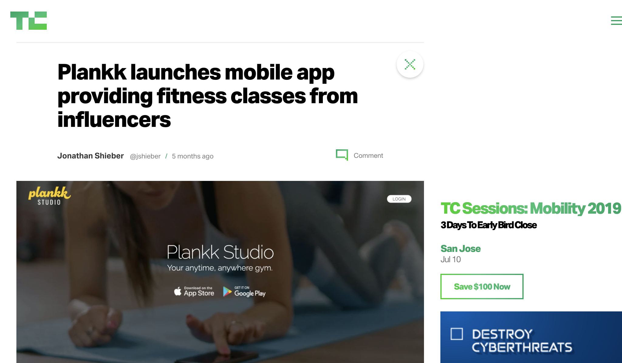 TechCrunch - Plankk launches mobile app providing fitness classes from influencers