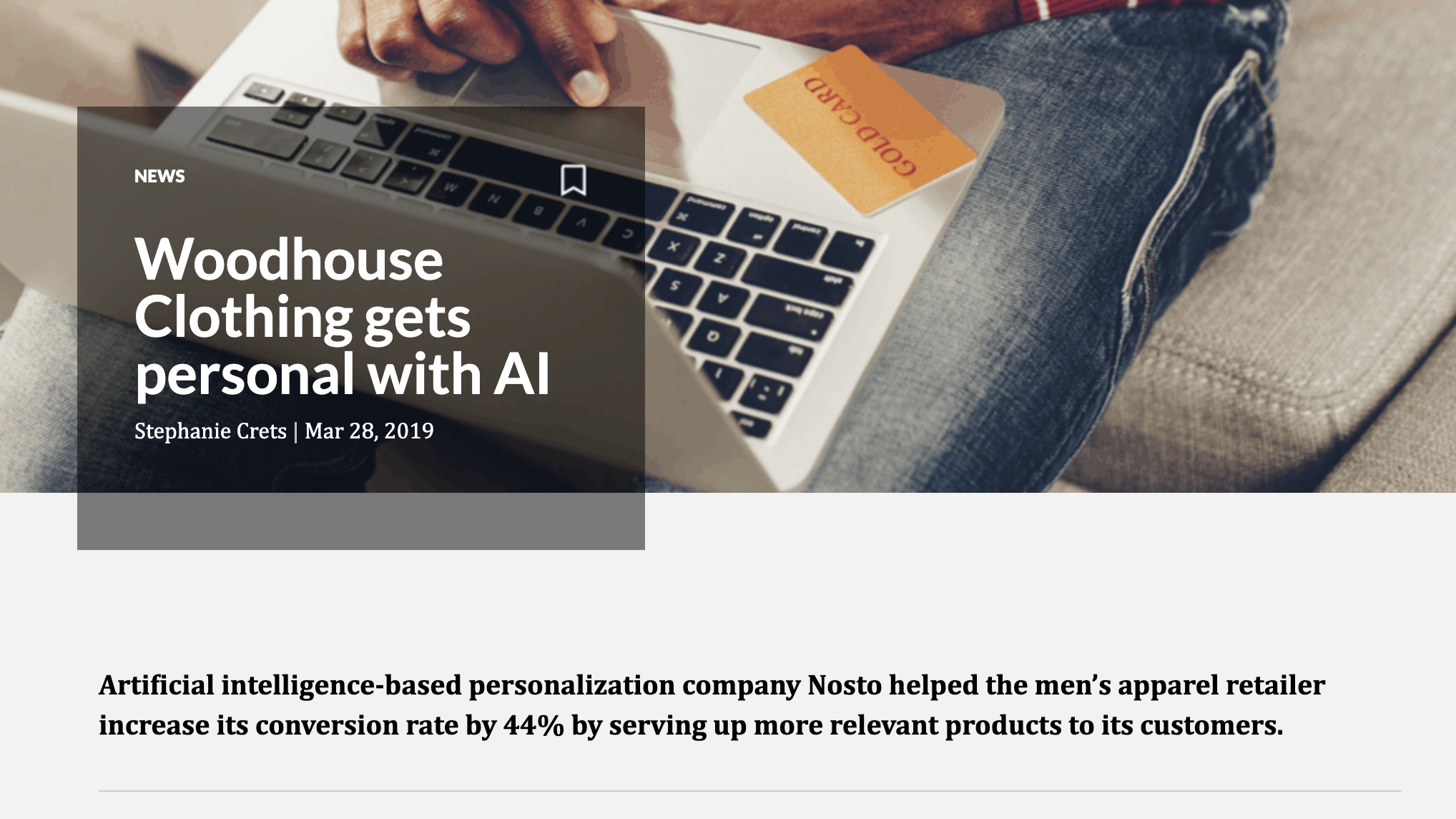 Digital Commerce 360 - Woodhouse clothing gets personal with AI