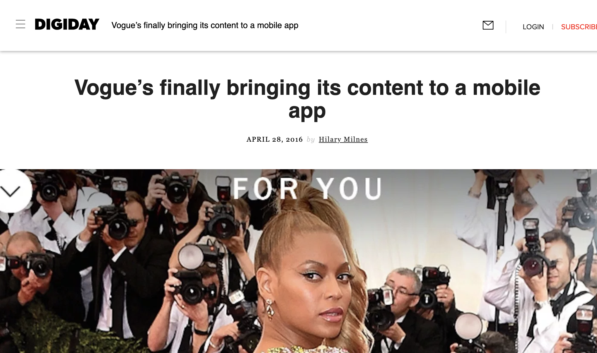 Digiday - Vogue's finally bringing its content to a mobile app