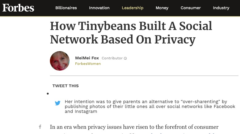 Forbes - How Tinybeans built a social network based on privacy