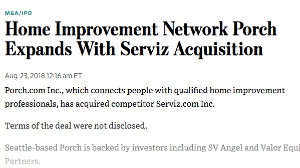 WSJ PRO VENTURE CAPITAL - Home Improvement Network Porch Expands With Serviz Acquisition