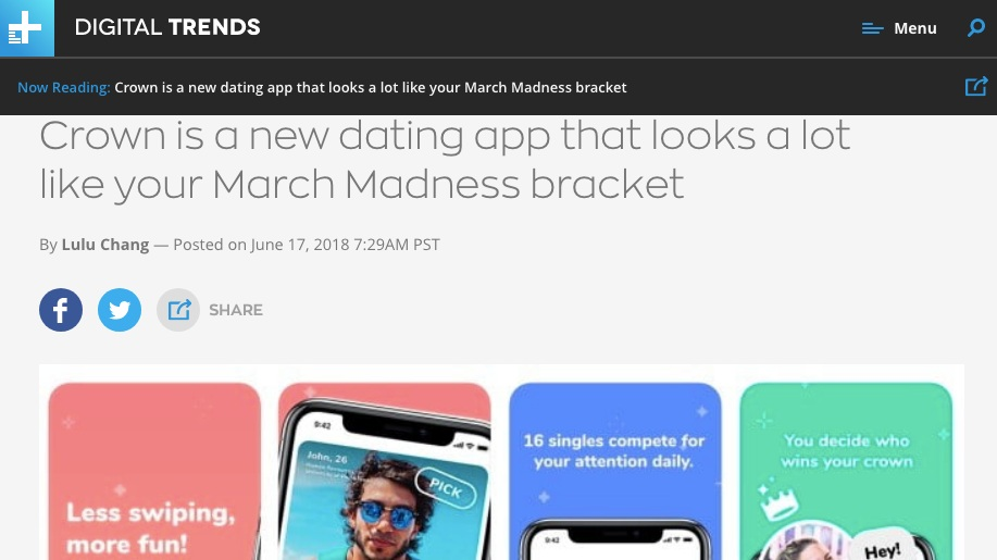 digital trends - Crown is a new dating app that looks a lot like your March Madness bracket