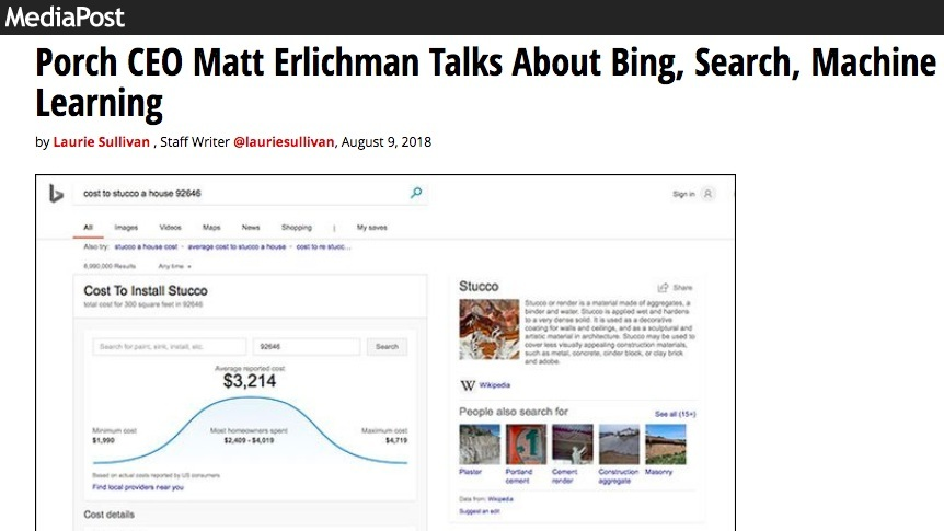 Media Post - Porch CEO Matt Erlichman Talks About Bing, Search, Machine Learning