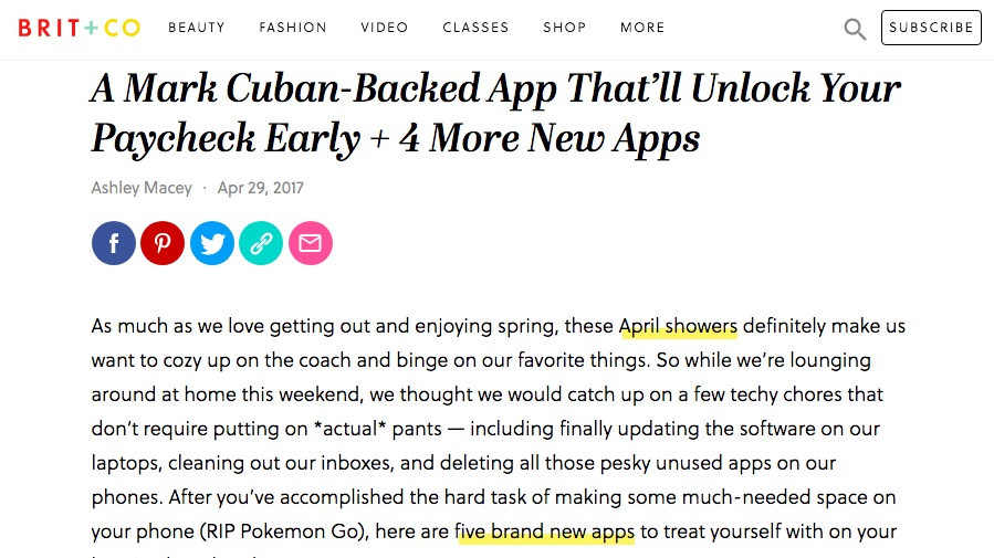 Brit + Co. - A Mark Cuban-Backed App That'll Unlock Your Paycheck Early + 4 More New Apps