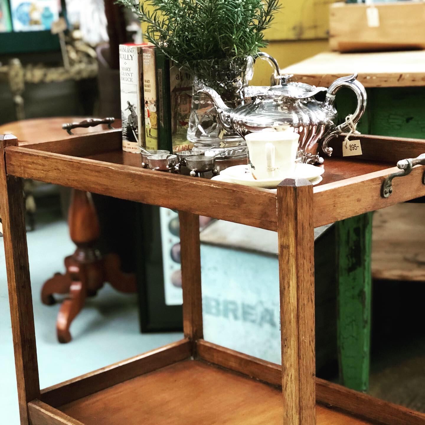 VINTAGE TEA TROLLEY  This one has sold but we usually have at least one other to chose from. Versatile and functional is still has many uses in the home.