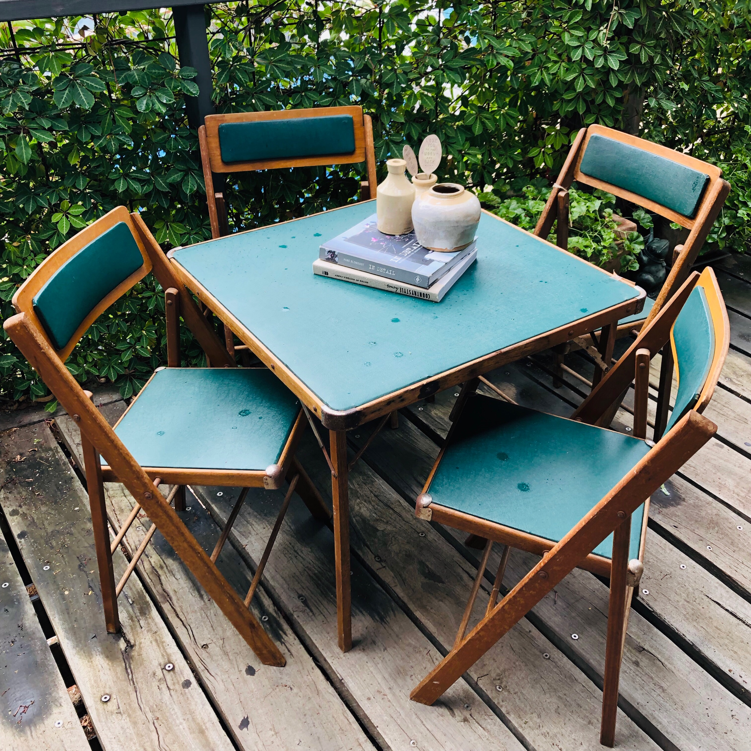 VINTAGE SET OF FOLDING CHAIRS AND TABLE  Made in Richmond Victoria by J.H. & Sons. It's rare now that you find a matching set of folding chairs and card table in such good condition. For its age it was in remarkable condition.