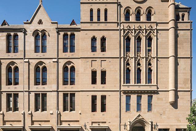 Full render restoration to the facade including ashlar line work at 196 Flinders St, Melbourne #solidplastering #rendering #render #construction #melbourne #restorations #restoration