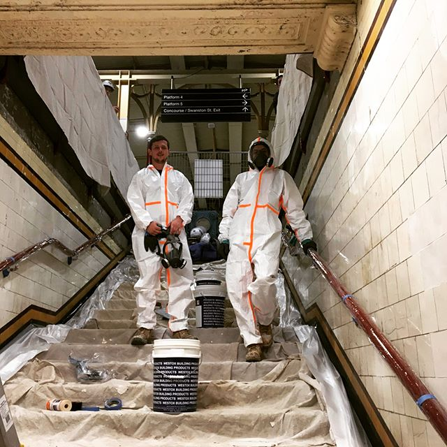 Space suits on tonight! Applying a Westox cleaning system to Flinders Street Station causeways. #safetyfirst #actionshot #plastering #hazmatsuit #solidplastering #flinderstreetstation #nightworks #westox  #heritage