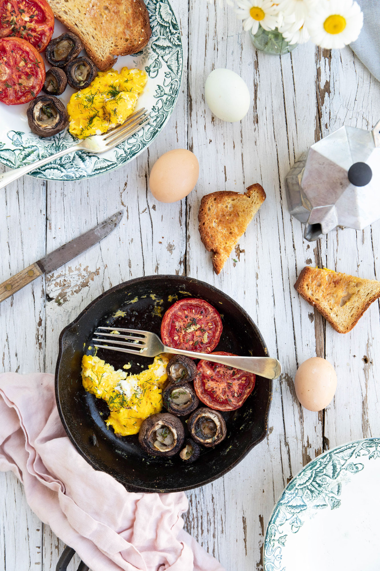 garlic roasted tomatoes and mushrooms with super creamy scrambled eggs -- Blue Moon Kitchen