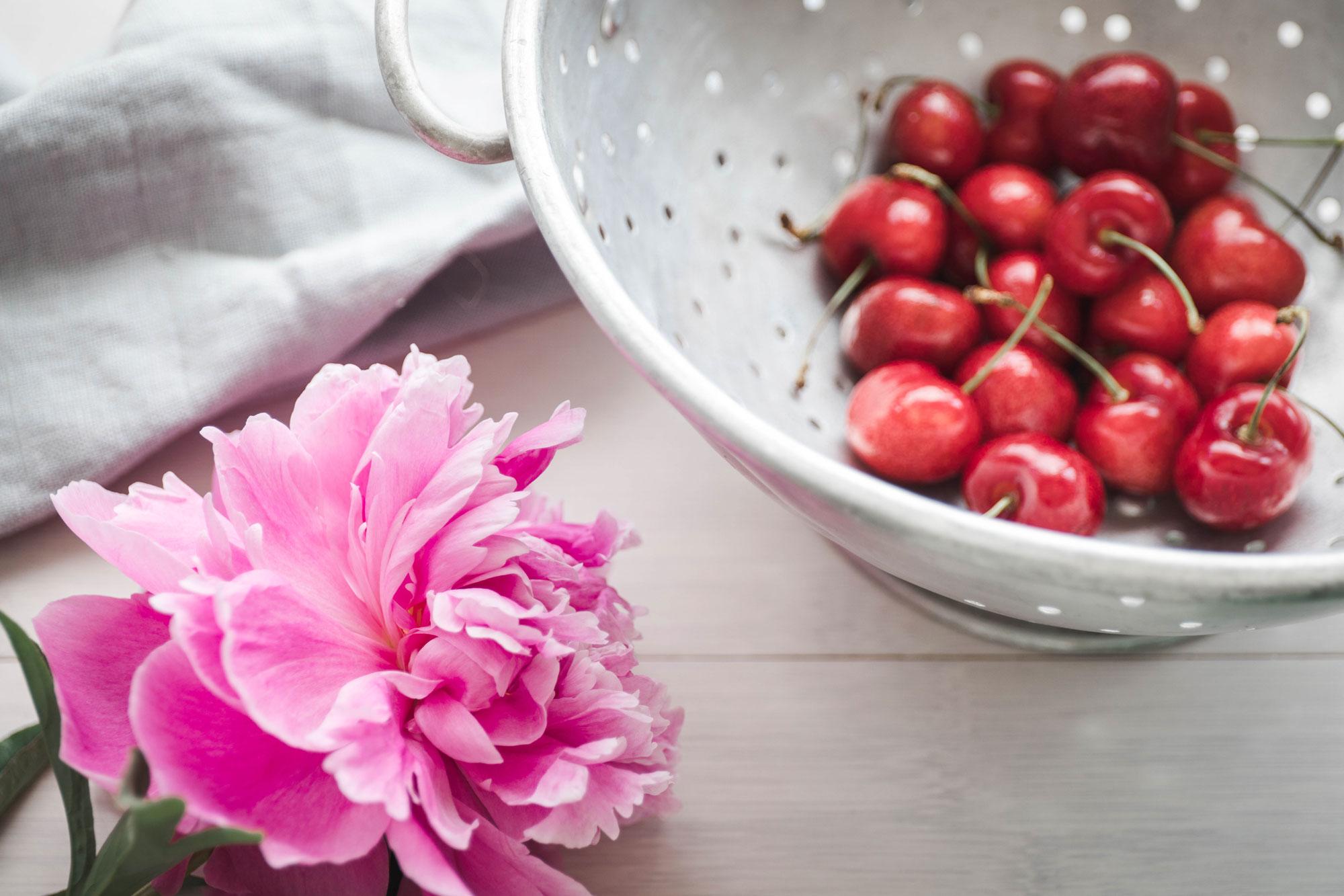 cherries for vegan chocolate shakes with cashew whipped cream