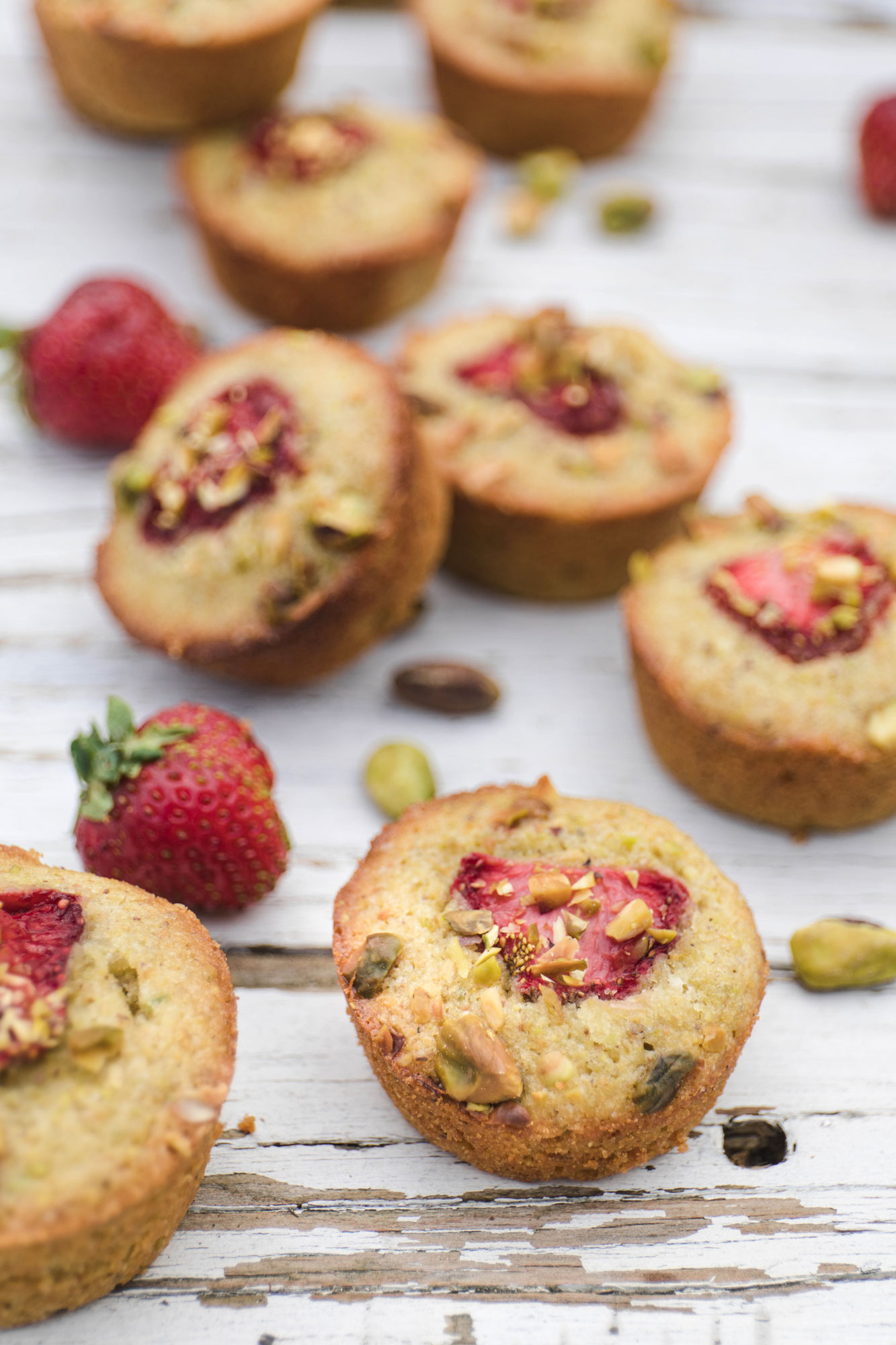 gluten free pistachio, strawberry and lime cakes