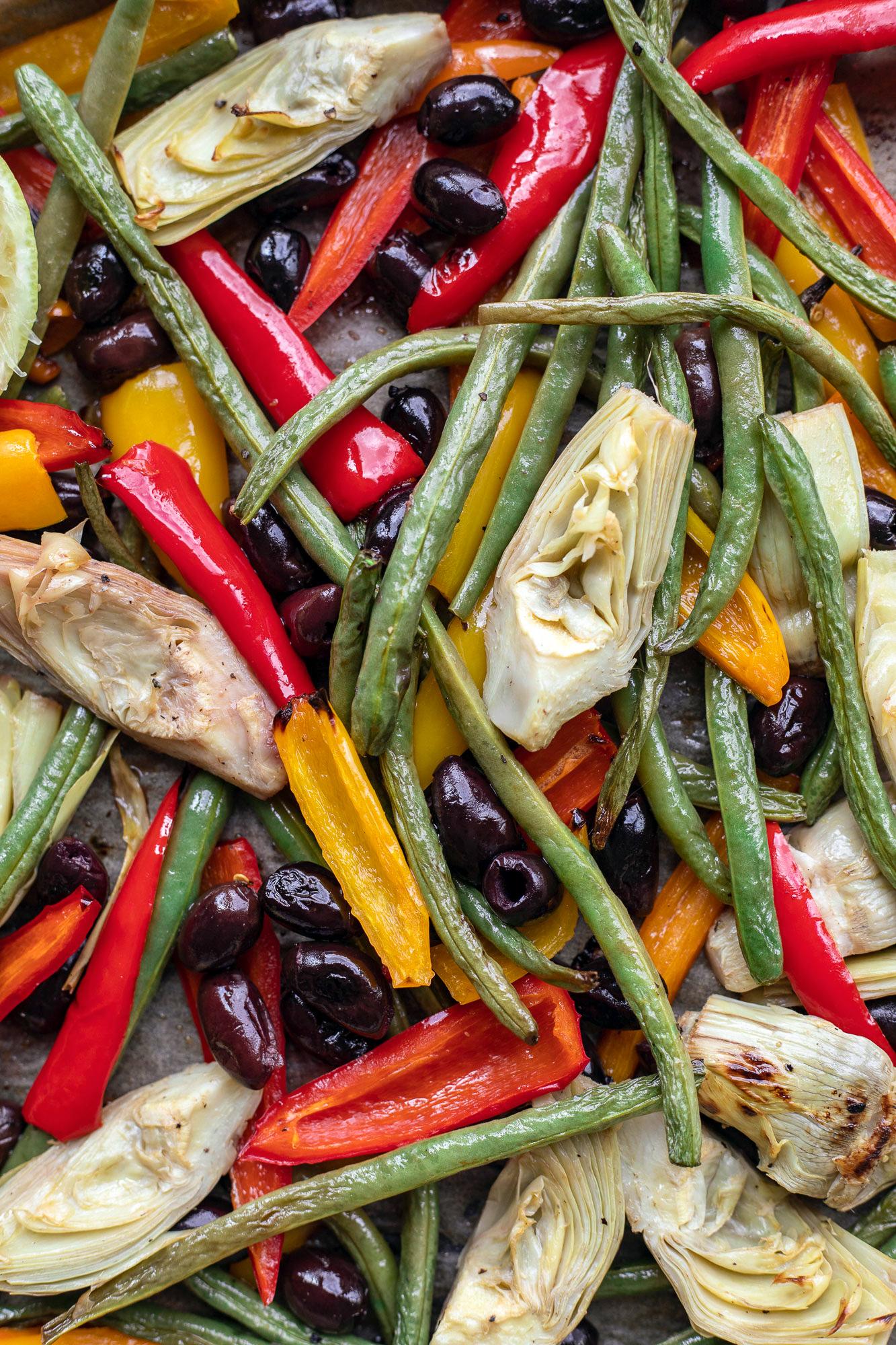 roasted vegetables for vegetarian paella