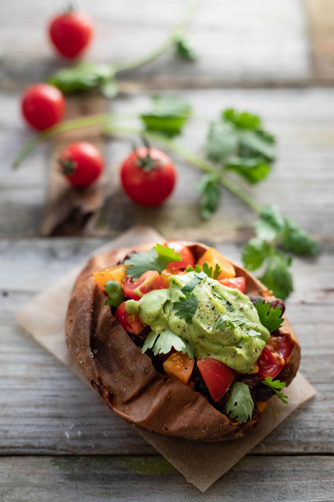 vegan and gluten free Mexican stuffed sweet potatoes