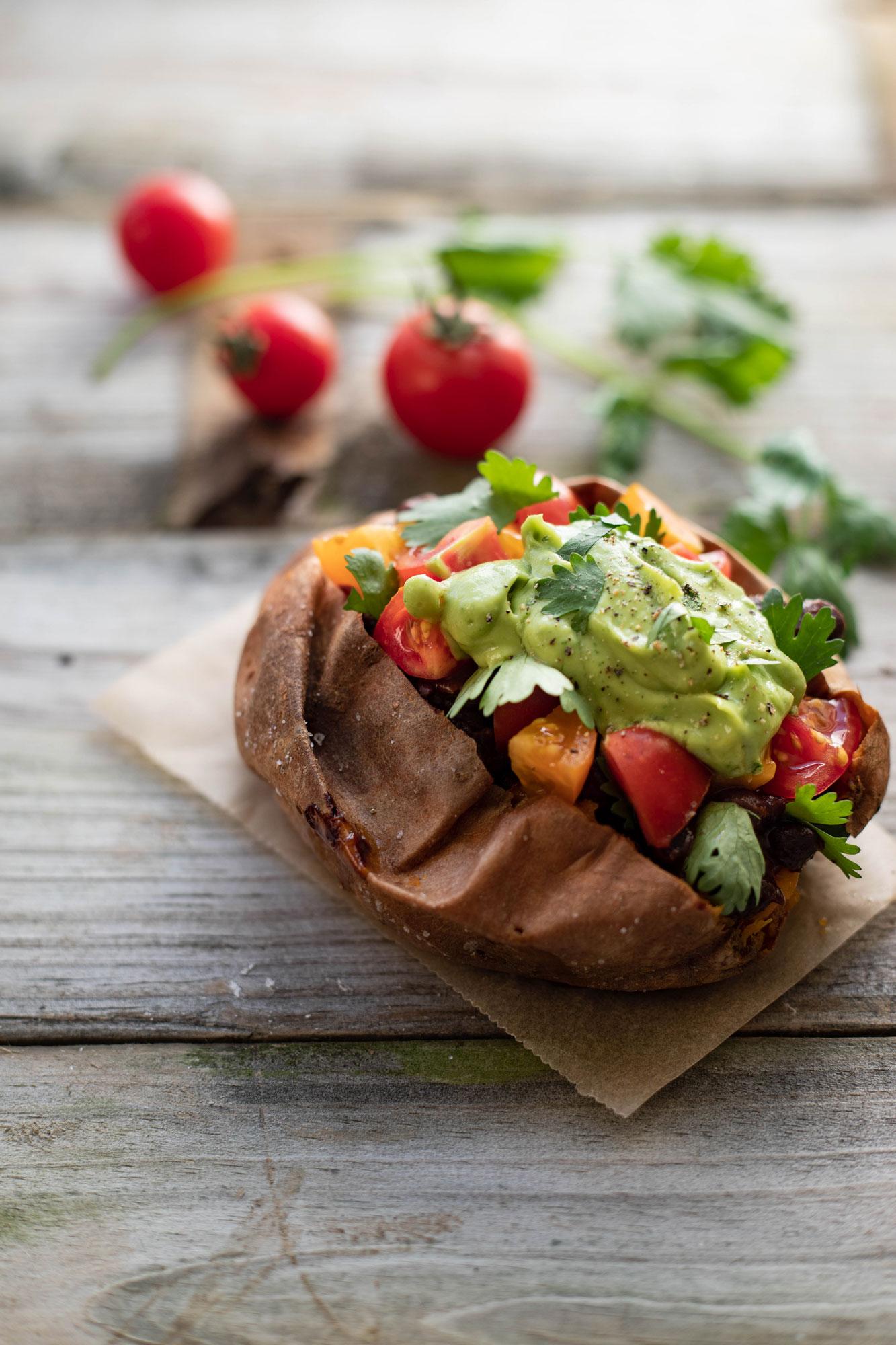 Vegan and GF Mexican stuffed sweet potatoes