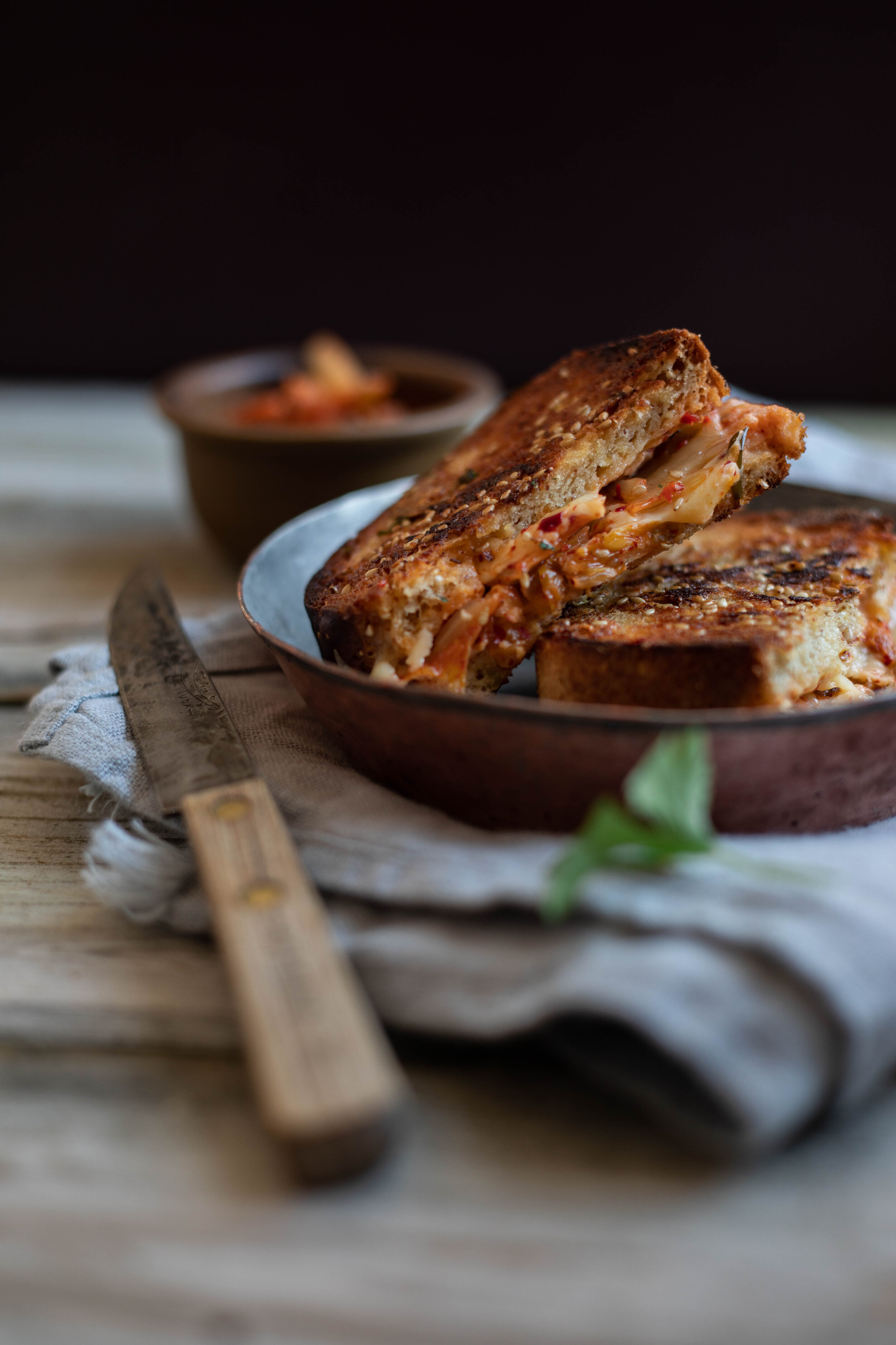Kimchi grilled cheese -- pure vegetarian comfort food