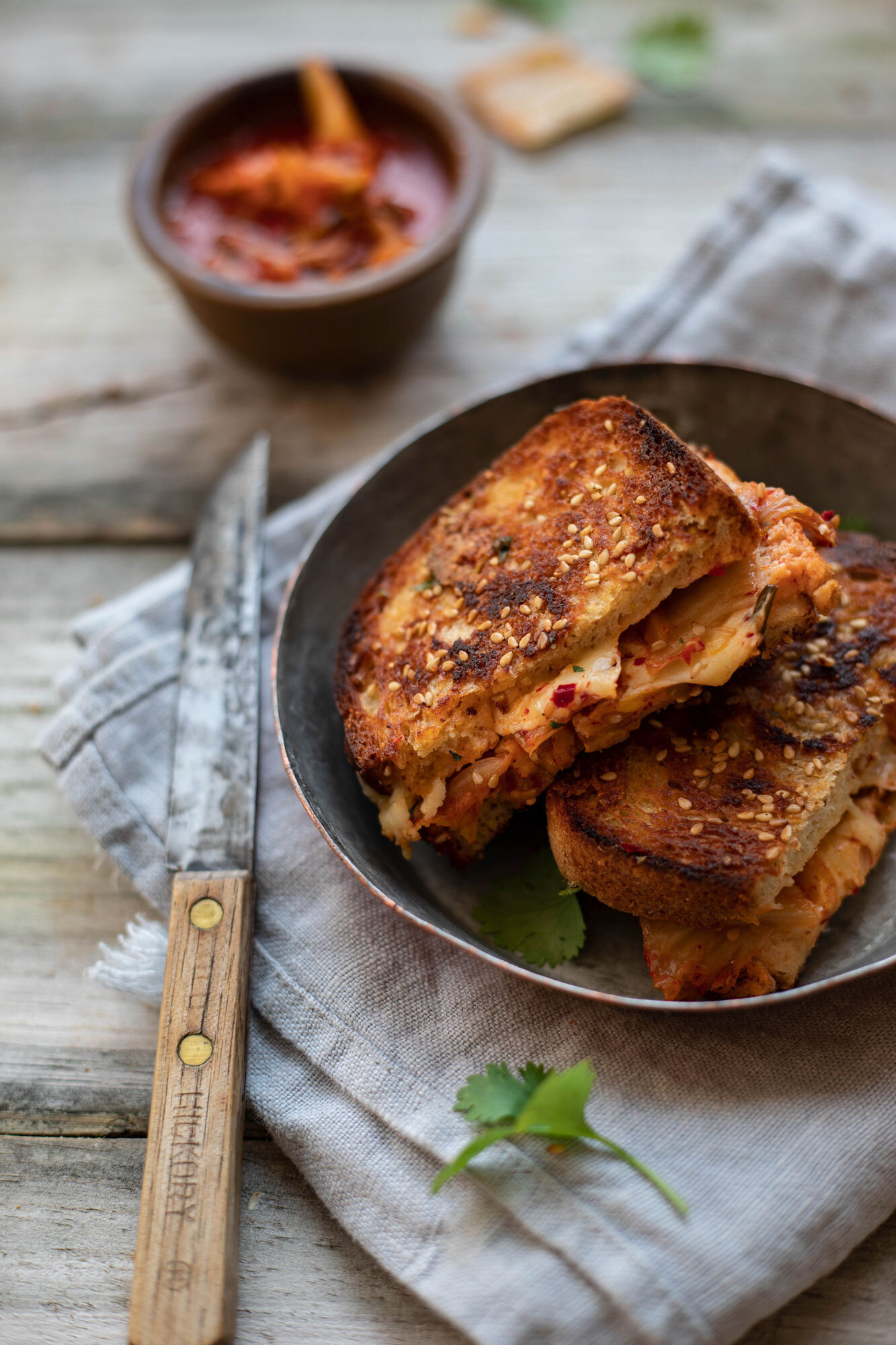 kimchi grilled cheese for pure vegetarian comfort food