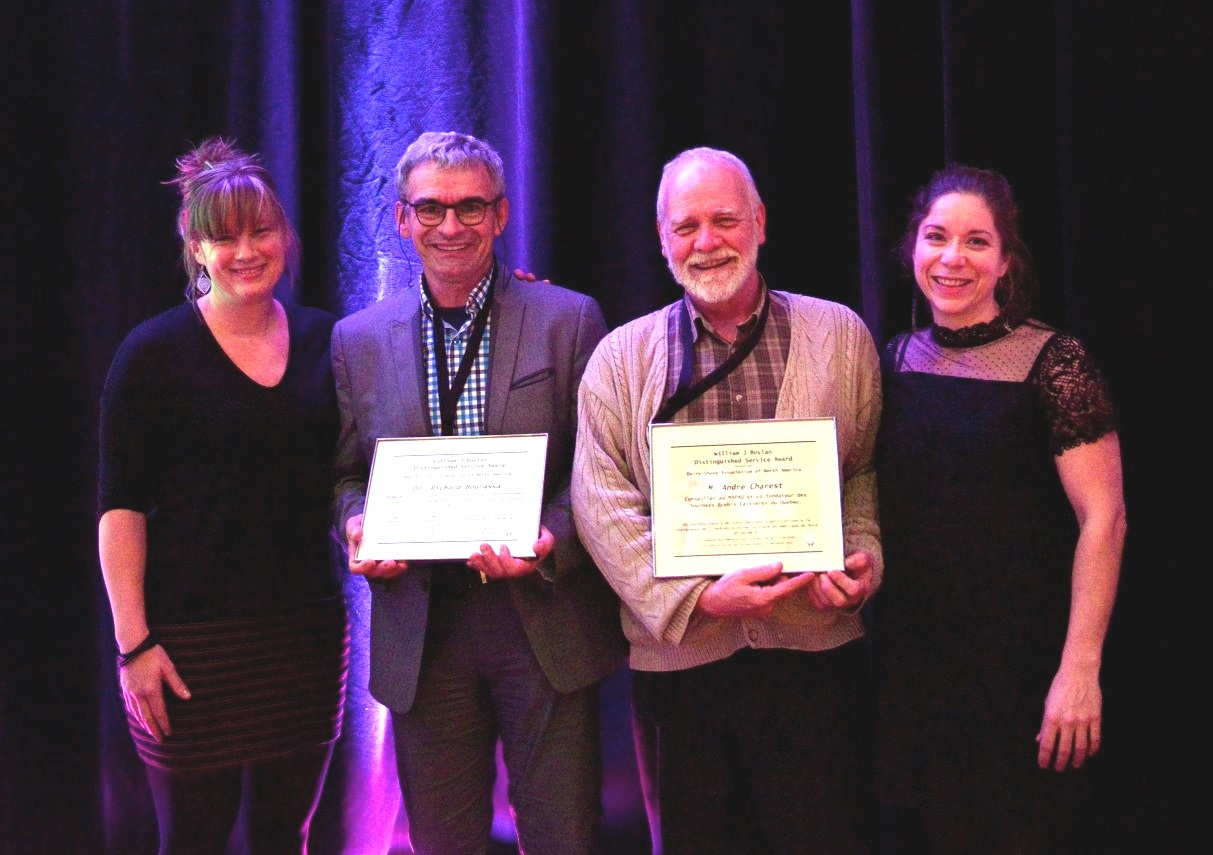 Distinguished Service Award, 2017: Dr Richard Bourassa, and M Andre Charest of CEPOQ, presented by Julie Mayrand (QC) and Marie-Chantal Houde (QC).