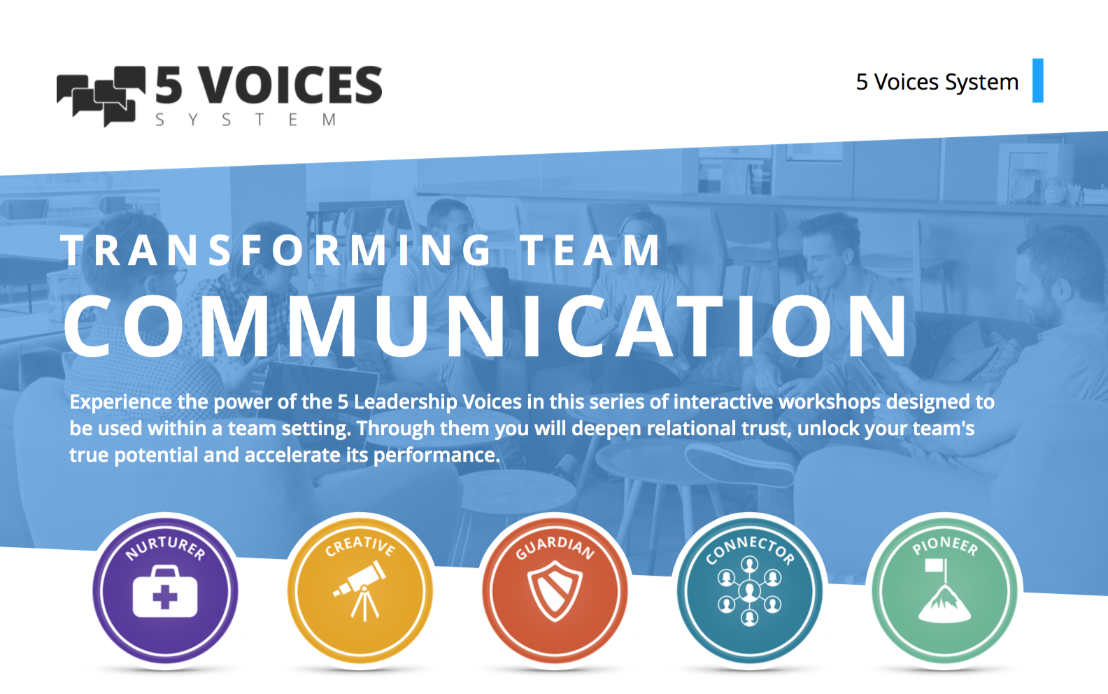- 5 Voices Workshops for leaders. One of many speaking topics available. Session 1: Discover your leadership voiceSession 2: The Power of your voiceSessions 3: The art of collaborationSession 4: Optimizing Team performanceSession 5: Team kryptonite