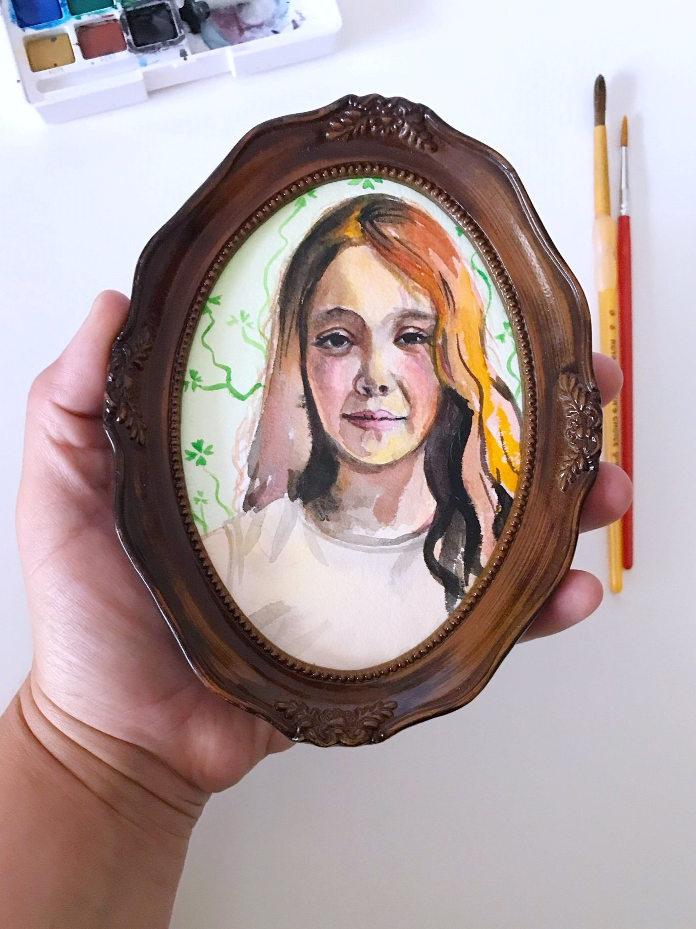 Watercolors give a soft, dreamlike look - *This Portrait was painted in Watercolors