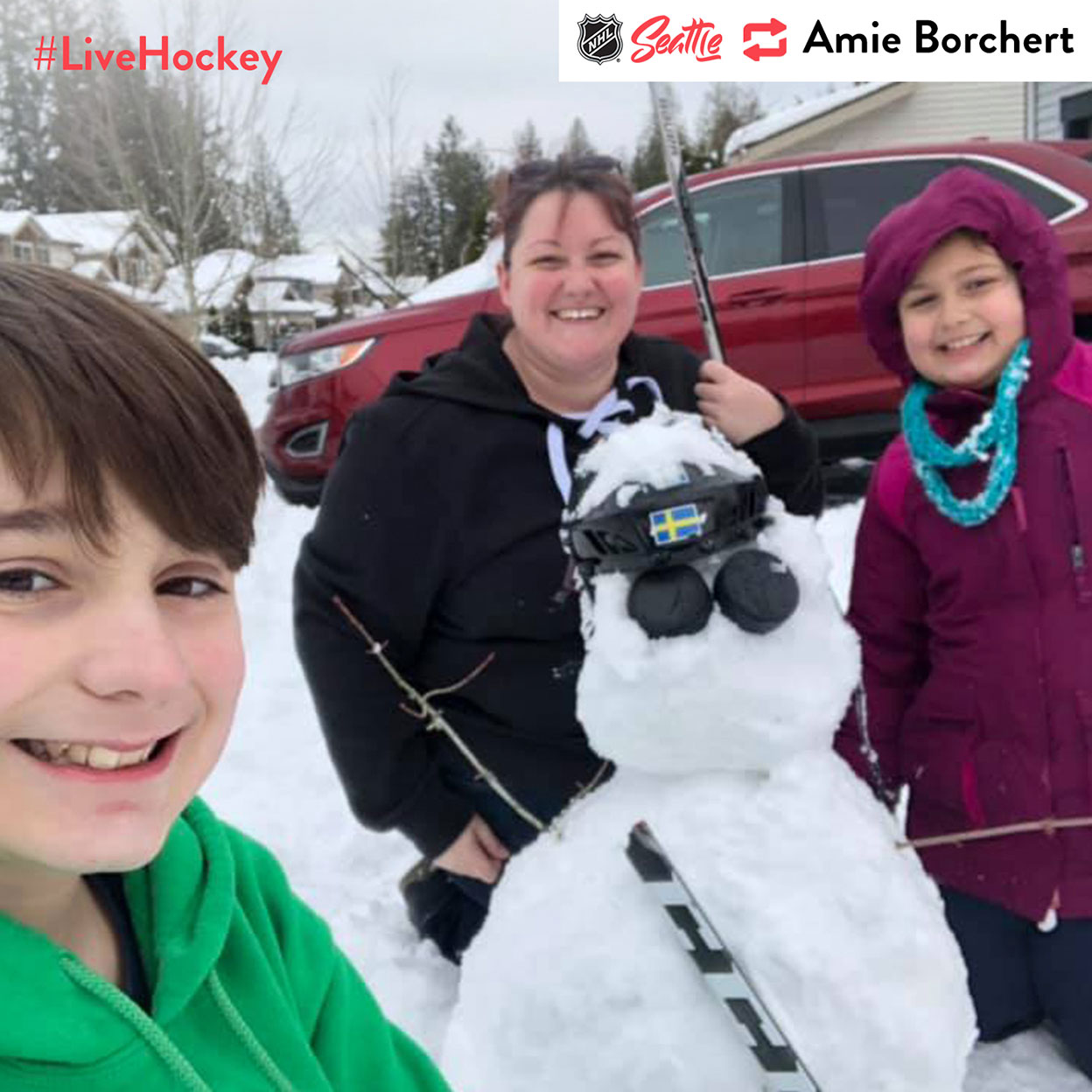 """""""#livehockey. The kids had wanted a hockey snowman so that's what we created. Pucks for eyes, a helmet we weren't actively using and a broken stick from one of the Tbirds."""""""