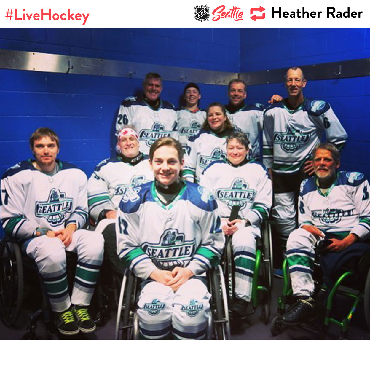 """""""Seattle #Tbirds #SledHockey team #livehockey, and we're all excited as hell for the Seattle franchise!"""""""
