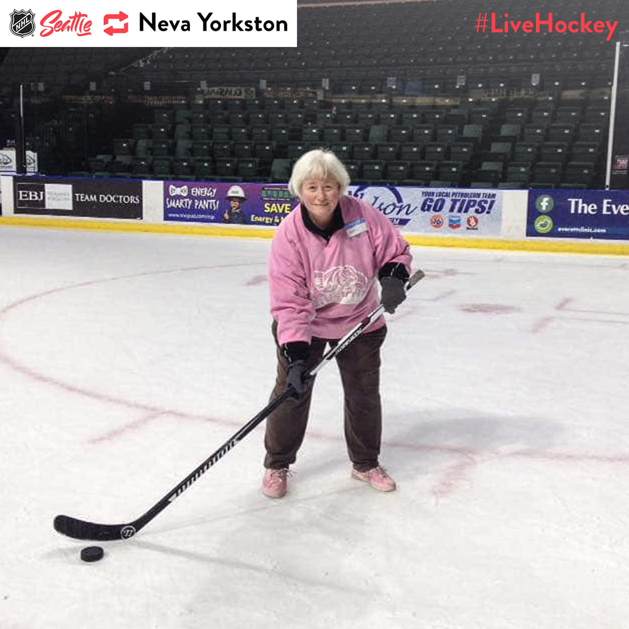 """""""#LiveHockey At an Everett Silvertips promo event """"Pucks and Purses,"""" a benefit for a local women's domestic violence support group."""""""