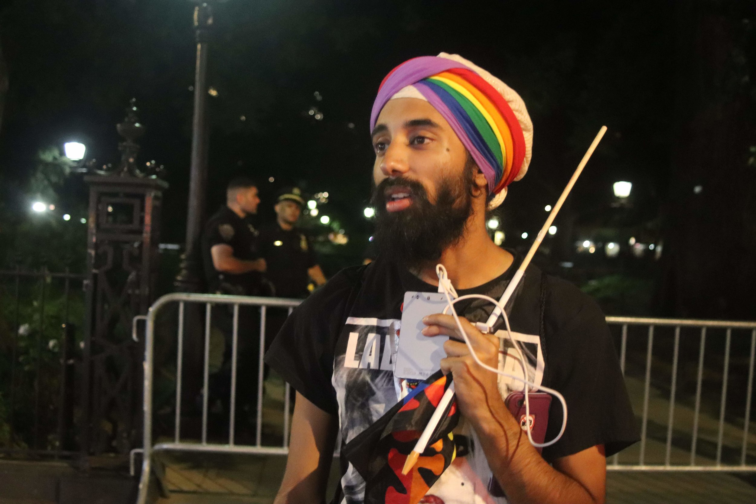 """""""Remember that Stone Wall started with the rebellion of unjust laws. Police enforce laws. Don't think that just because something is a law, it's just."""" - @jasnaamsingh - -Taken approximately five minutes after a heated argument with two police officers (shown in back) about lies the NYPD tell New York citizens. The argument continued afterwards."""