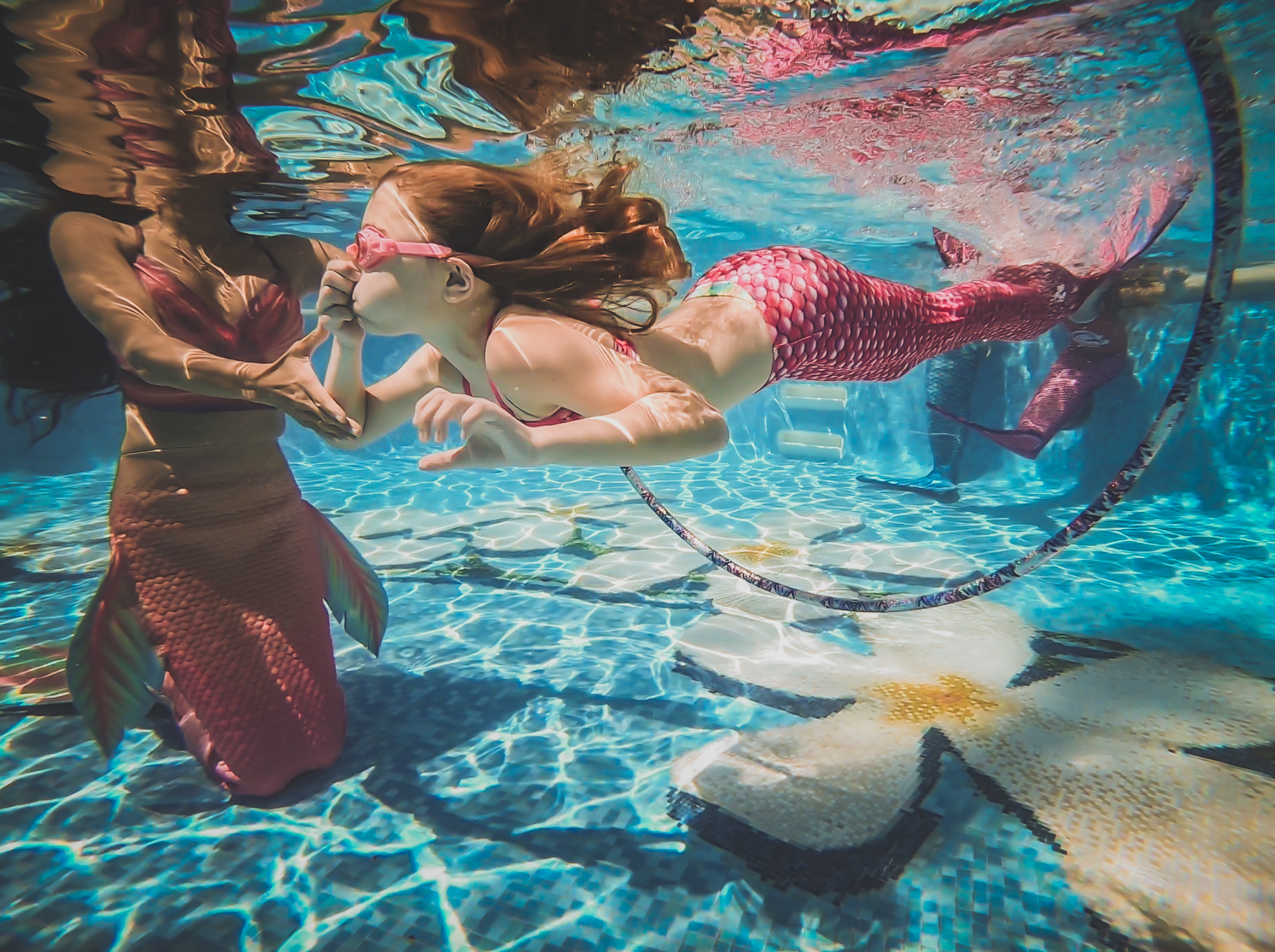 performing our Mermaid University class at the world famous fairmont kea lani resort in wailea