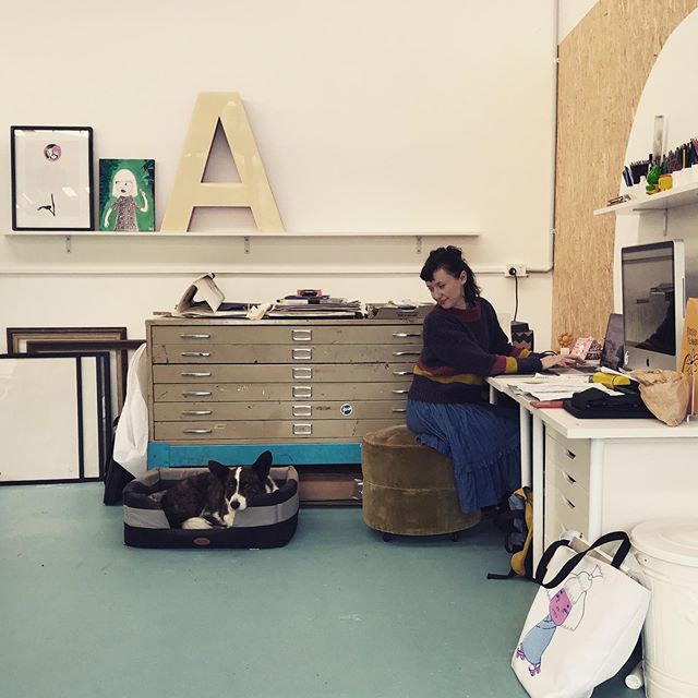 New studio is 'A' for awesome!  @peachesandkeen sure know how to make a space look fancy:) Thanks for the A @johskelton  #studio #corgi #corgionpatrol #lettera #illustrator