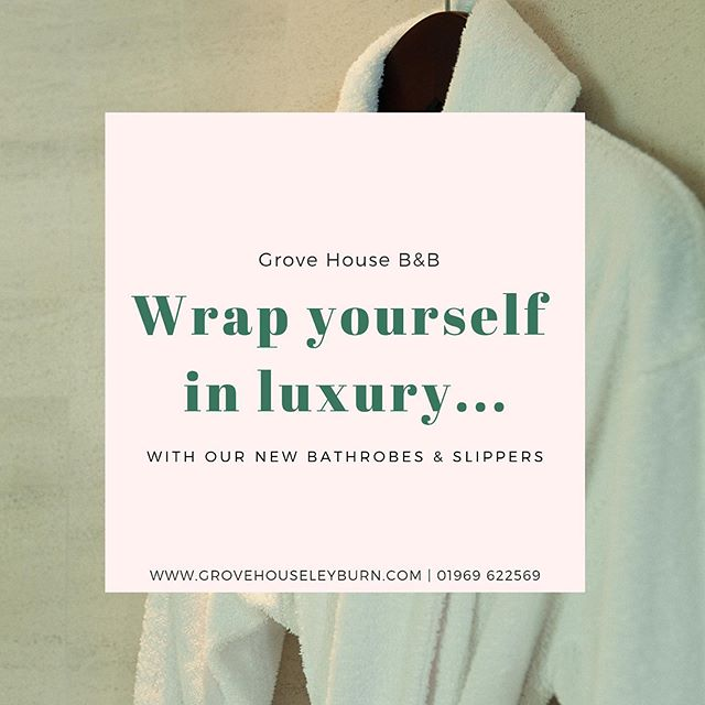 We've added lush bathrobes and slippers to all of our guest rooms so your stay is even more comfortable. Book now to experience the luxury. #GroveHouseLeyburn #StayWithUs #YorkshireDales #VisitYorkshire #luxuryamenities