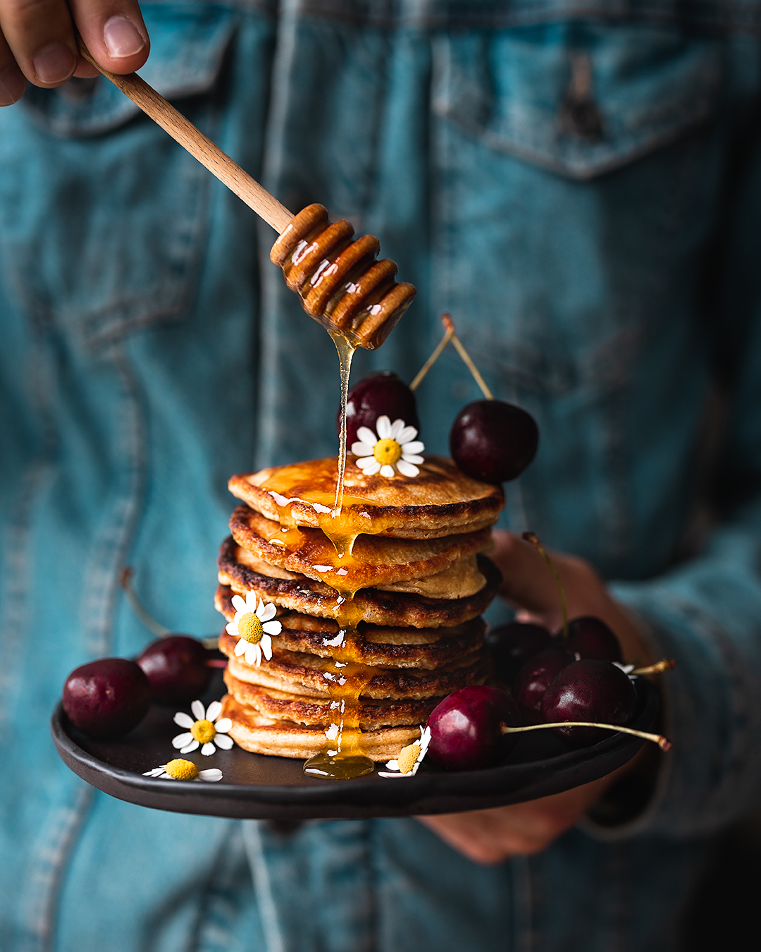 Recipe Photography - Kamile Kave - pancakes with the dripping honey.jpg