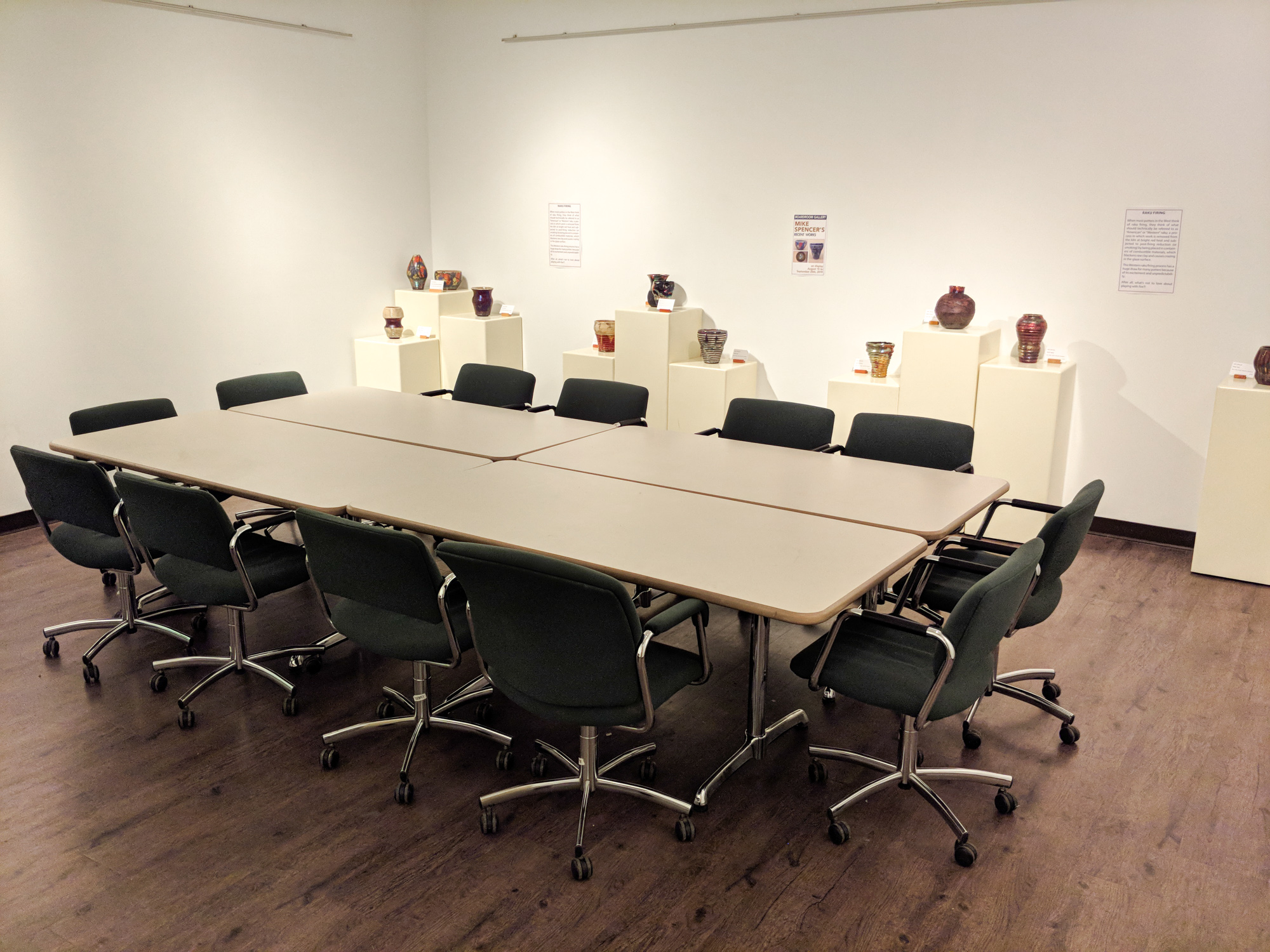 Boardroom Gallery - The Boardroom Gallery features artwork by local artists every few months in an intimate setting. The gallery has a conference table with seating for 12.