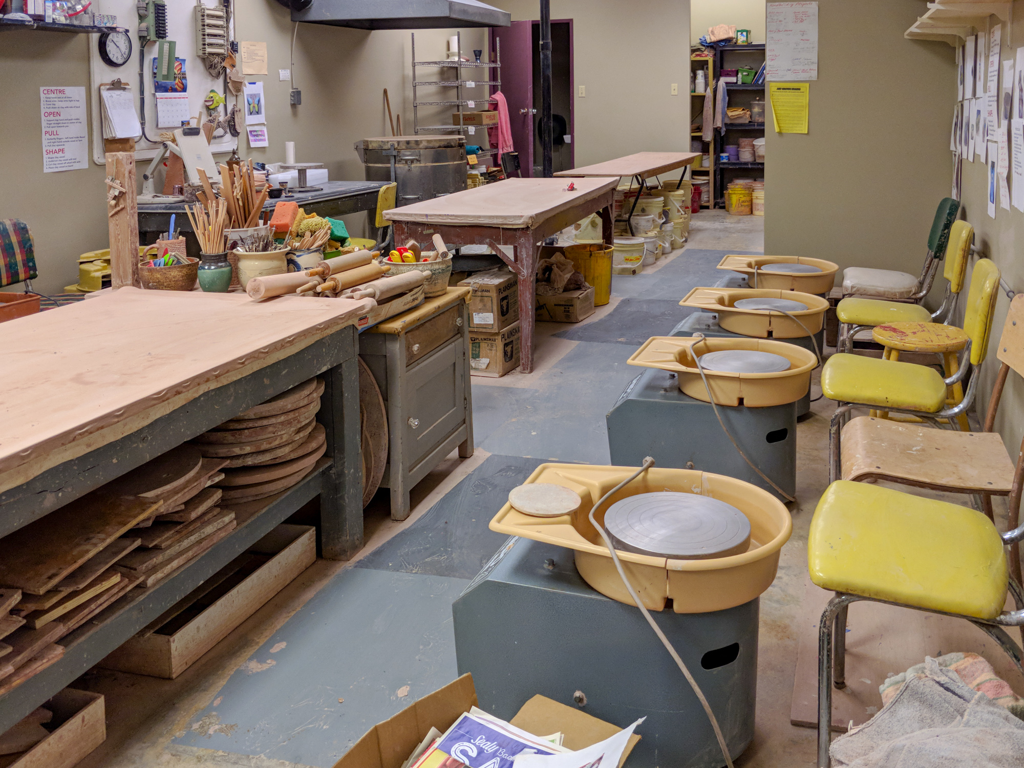 Pottery Studio - The Pottery Studio is equipped with 8 pottery wheels and an electric kiln.