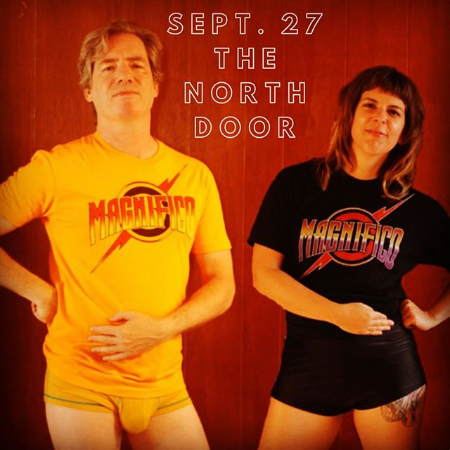 Magnifico plays Queen—the hits and deep cuts Friday night at @thenorthdoor .  Plus: we have T-SHIRTS! Grab 'em at the show or DM us (models may or may not be included, depending on their rehearsal schedule). #magnificoqueen #thenorthdooraustin #queentribute #austinmusicscene #wewillrockyou #bandtshirt #magnifico #queen