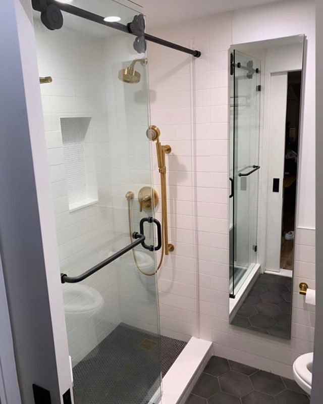 Recent bathroom install.  Timeless look.  Practical storage. #robern #procelanosa #foromarblecompany #bathroomdesign #brooklyndesigner #parkslopebrooklyn