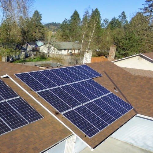 solar panels on a house roof in portland, oregon