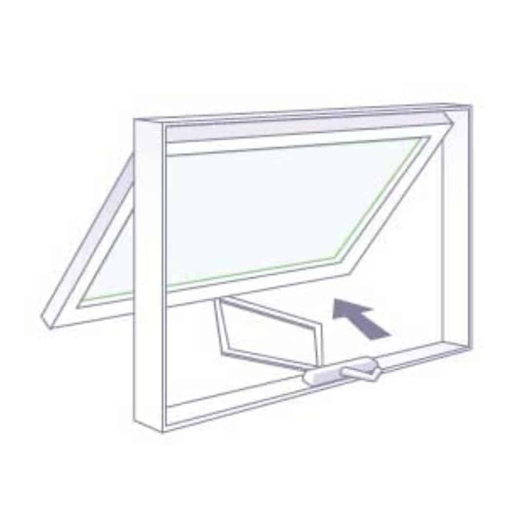 diagram showing how to open and close the milgard awning window