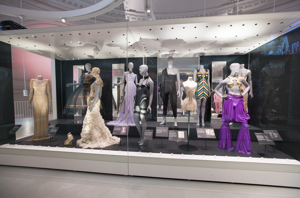 Installation view of Undressed: A Brief History of Underwear Victoria and Albert Museum