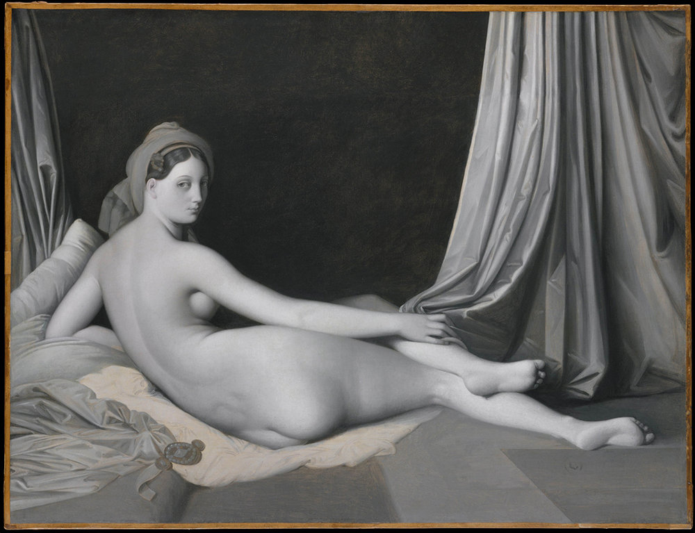 Jean-Auguste-Dominique Ingres and workshop, Odalisque in Grisaille, about 1824-34, Oil on canvas, 83.2 × 109.2 cm, The Metropolitan Museum of Art, New York, Catharine Lorillard Wolfe Collection, Wolfe Fund, 1938, 38.65, © The Metropolitan Museum of Art / Art Resource / Scala, Florence